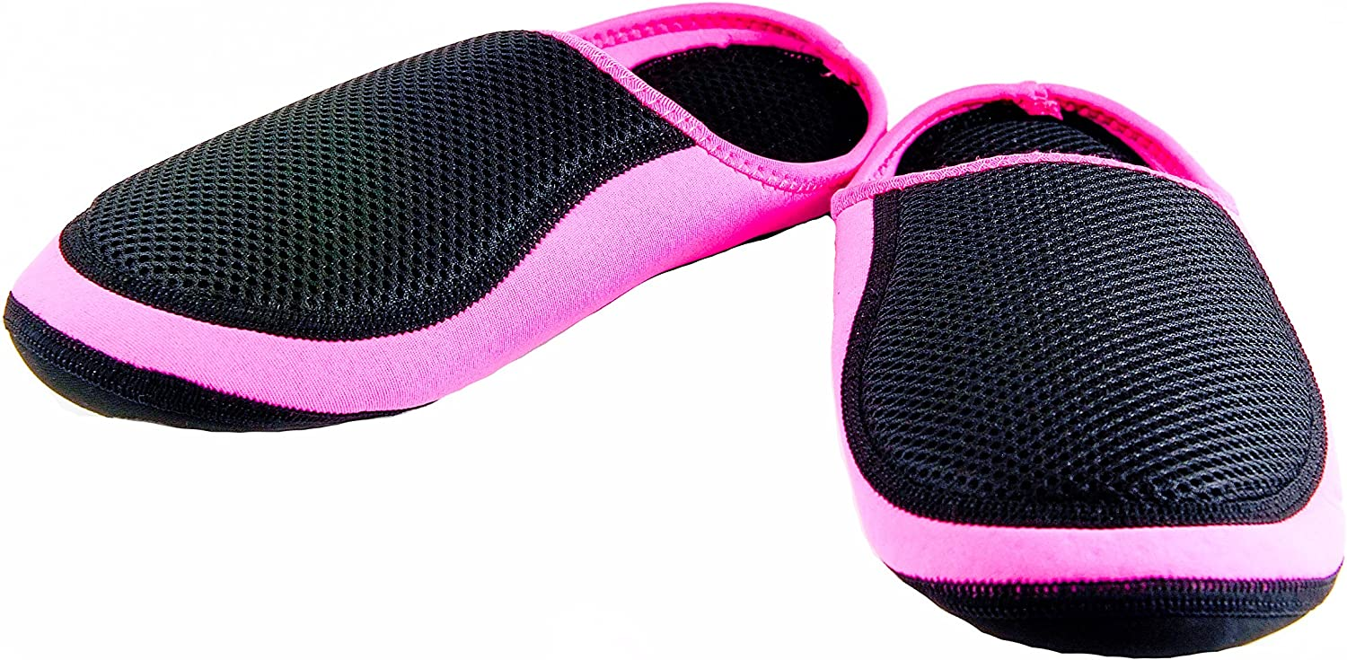 Nufoot Black Mesh Cushies Womens Slippers, Pink Trim, Large 2 Count