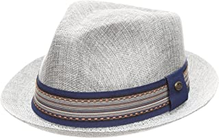516e36b9ce440 MIRMARU Men Women Summer Trilby Short Brim Lightweight Linen Fedora Hat  with Band.