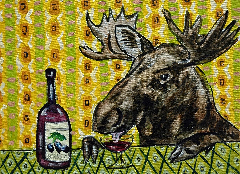 moose at the wine bar art decor animal print Excellent Washington Mall