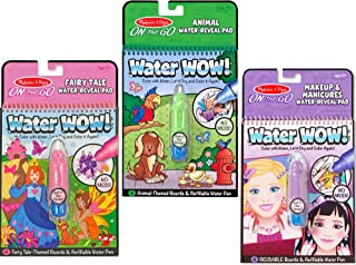 Melissa & Doug On-the-Go Water Wow! Fairy Tale, Makeup, and Animals Reusable Water-Reveal Activity Pad, Chunky-Size Water Pen, 3-Pack