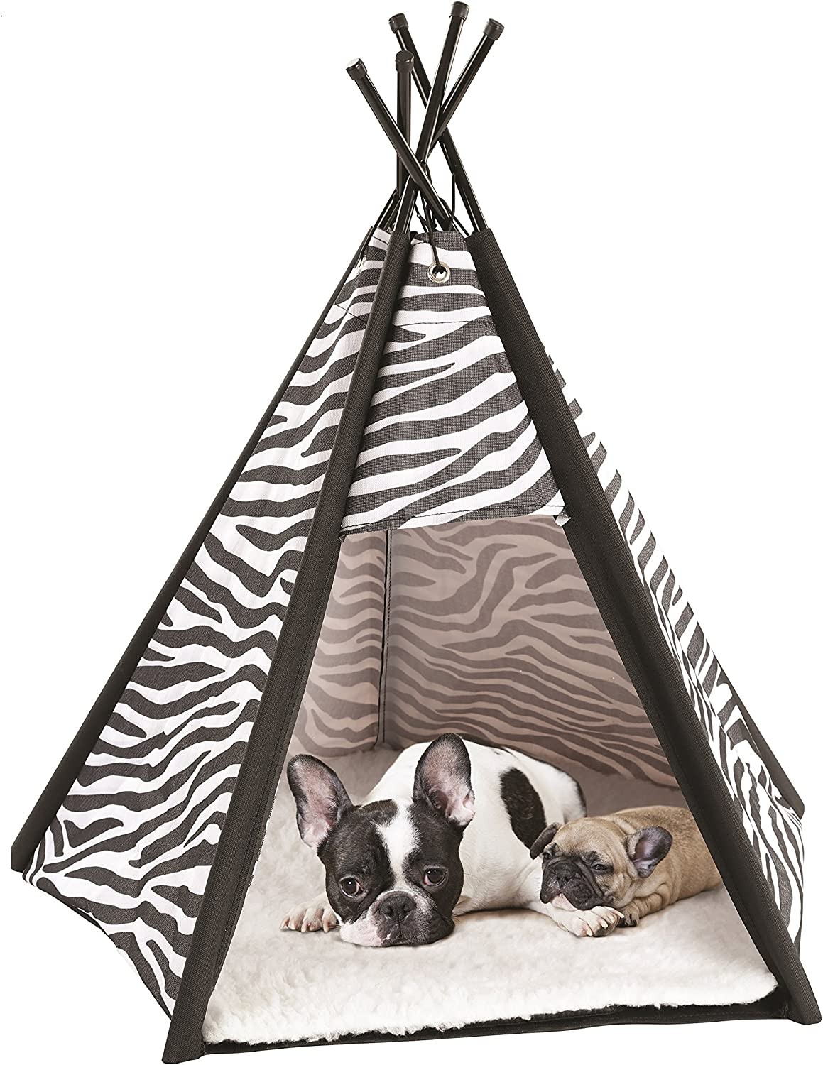 Etna Portable Lightweight Teepee Pet Tent  Warm and Cozy with Soft Bed Padding for Dogs, Cats, Puppies, and Rabbits. Indoor Outdoor, Office, Home.