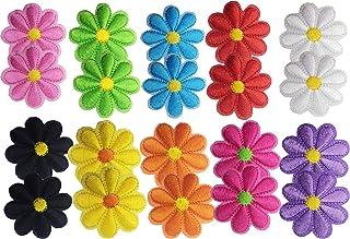 Geek-M 20 Pcs Iron On Patches Flower Applique Patches Mixed Colour Decorative Patches