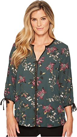 Ivanka Trump - Georgette Metallic Trim Floral Blouse