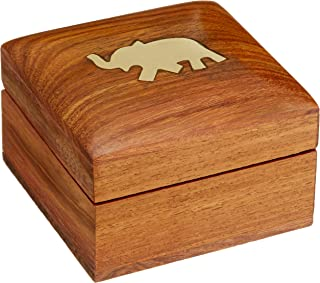 Wooden Jewelry Box for Bracelets Elephant Charm Gift for Her, 3x3x2 Inches by ShalinIndia