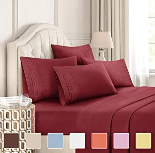 King Size Sheet Set - 6 Piece Set - Hotel Luxury Bed Sheets - Extra Soft - Deep Pockets - Easy Fit - Breathable & Cooling Sheets - Wrinkle Free - Comfy - Burgundy Bed Sheets - Kings Sheets - 6 PC