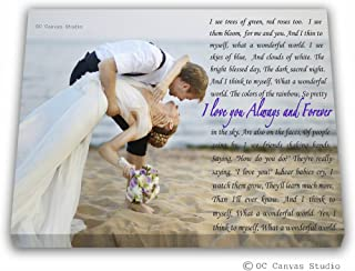 Personalized wording with your photo, Custom canvas print, Personalized Wedding Photo Canvas Print with your First Dance Lyrics, Vows, Poem, Quotes Personal/Unique Wall Decor