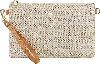 AGNETA Women's Straw Clutch Purse Summer Beach Crossbody Handbag Zipper Wristlet with Detachable Chain Strap