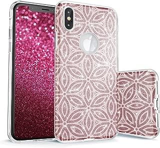 真正的彩色手机壳适用于 iPhone X Sparkase Collection V1 Geometric Flowers - White on Rose Gold