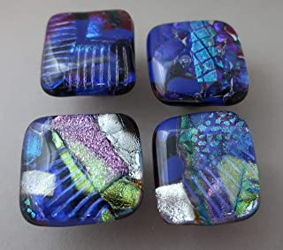 Set of 4 blue fused dichroic glass cabinet knobs drawer pulls satin nickel finish