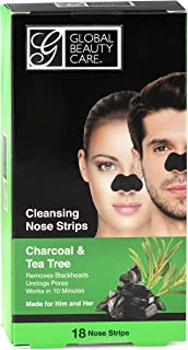 Global Beauty Care 18 Nose Cleansing Strips of Activated Charcoal & Tea Tree Nose Strips For Blackheads Removal Charcoal B...