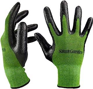 دستکش کار بامبو برای زنان و مردان. سری گل براق نهایی Barehand حساسیت کار دستکش برای باغبانی، ماهیگیری، clamming، ترمیم کار (متوسط)