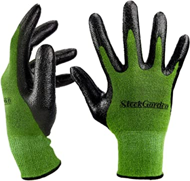 Bamboo Working Gloves Ultra Grip, Nitrile Protective Coating Against Cuts Barehand Work Glove for Gardening, Fishing, Clammin
