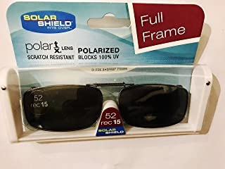 Solar Shield Clip-on Polarized Sunglasses Size 52 rec 15 Black Full Frame New