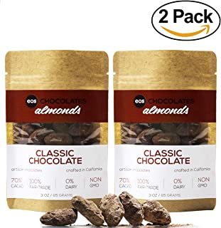 Eos Chocolates Keto Dark Chocolate Covered Almonds - Vegan Chocolates, Smart Snacks Sweets, No Added Sugar Gifts for Kids, No Sugar Alcohols 70% Cacao (Classic, 2 Pack)