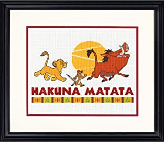 Dimensions Disney's The Lion King 'Hakuna Matata' Counted Cross Stitch Kit for Beginners, 14 Count White Aida Cloth, 10'' x 8''
