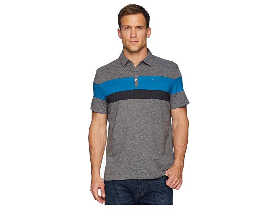 Calvin Klein Liquid Touch Tricolor Blocked Polo (Medium Grey Heather Combo) Men