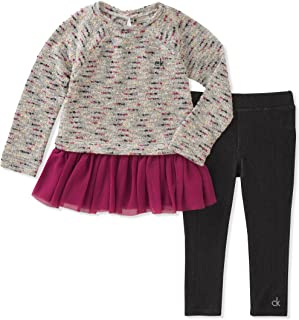 Calvin Klein 女童两件套时尚上衣和紧身裤套装