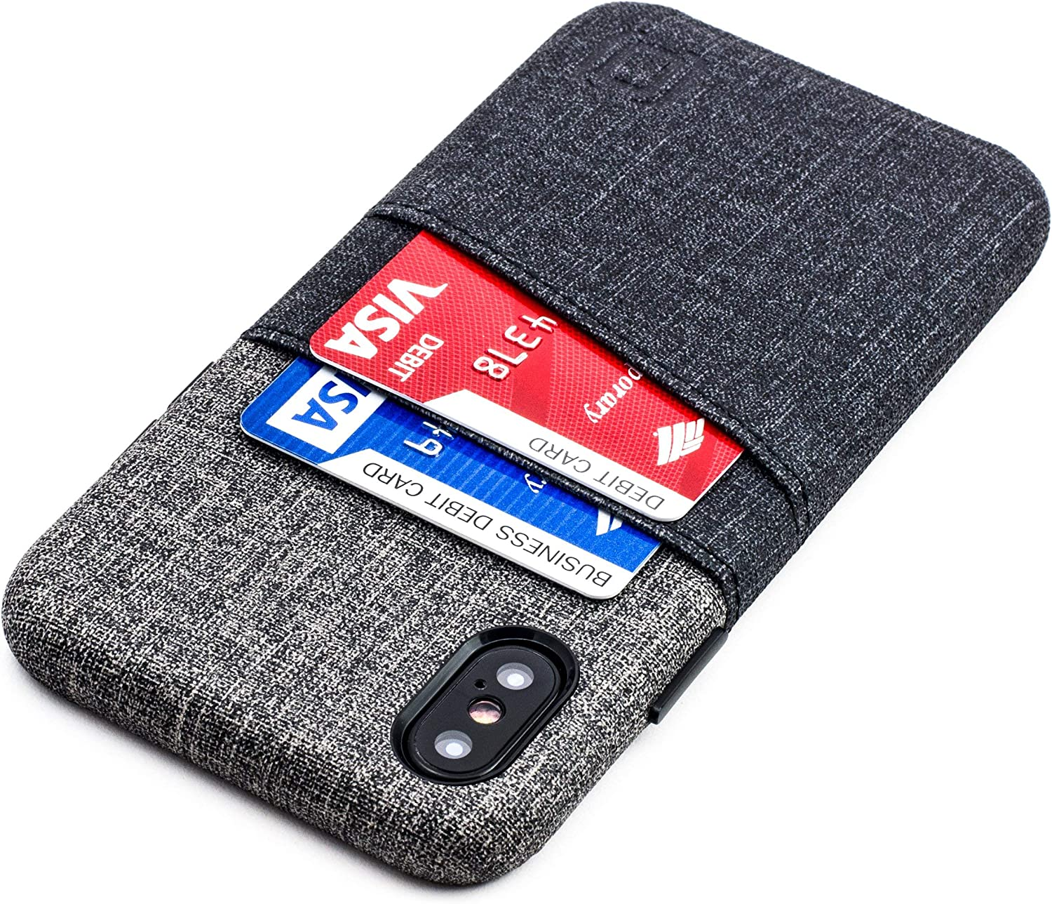 Dockem iPhone X/XS Wallet Case: Built-in Metal Plate for Magnetic Mounting & 2 Credit Card Holder Slots (5.8