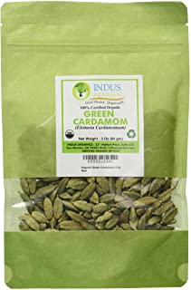 Indus Organics Green Cardamom (Pods), 3 Oz Bag, Jumbo Grade, Hand Picked, Freshly Packed