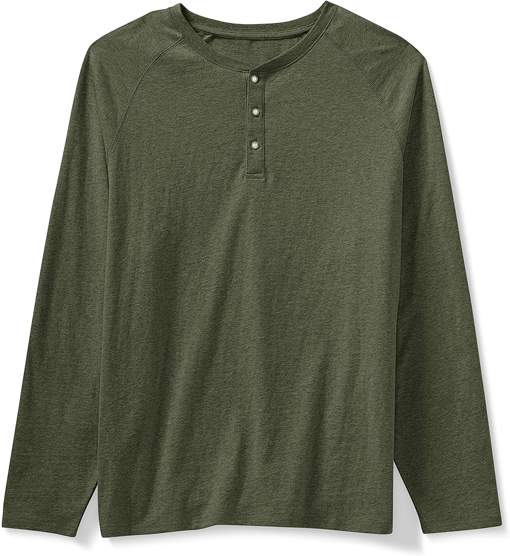 Amazon Essentials Men's Big & Tall Long-Sleeve Henley Shirt fit by DXL