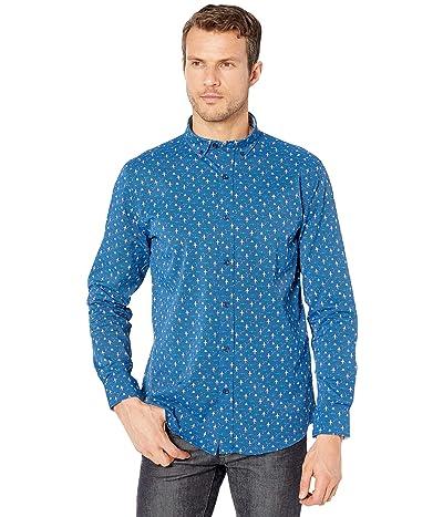 Johnston & Murphy XC4 Woven Airplane Compass Print Shirt (Blue) Men