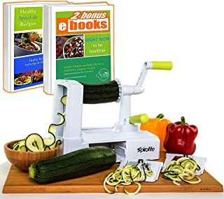 Spiralife Spiralizer Vegetable Slicer – Zucchini Spaghetti Maker, Heavy Duty Suction Cup Mount, 30-Spike Ergonomic Crank Handle – BONUS Digital Spiralizer Ebook – Perfect for Low Carb & Paleo Diet