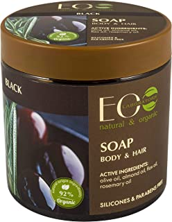 EO Laboratorie natural & organic Black Soap For Body And Hair, With Olive Oil, Extreme Moisture, 450 ml