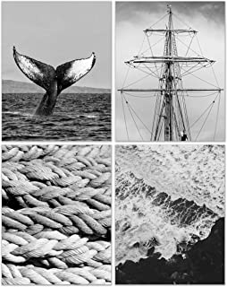 Black and White Nautical Prints - Set of 4 (11x14) Inches Glossy Monochromatic Whale Ship Boat Rope Atlantic Ocean Photogr...