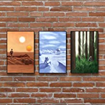 Star Wars Painting Set - Tatooine - Hoth - Endor - Art Prints - Wall Decor - Posters - Gift (4x6-18x24 IN)