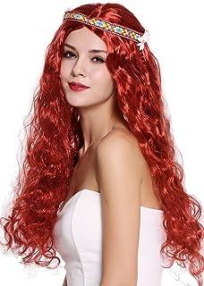 WIG ME UP- 91298-ZA350 Peluca Mujer Hombre Carnaval Halloween Hippy 60s 70s Largo Rojo Ondulado Partido Medio Cinta Flor