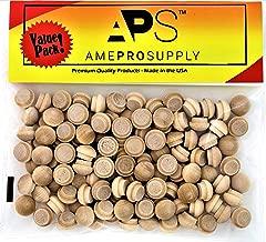 AmeProSupply Button Top Wood Plugs 3/8 inch | Maple Hardwood Head Plugs | Screw Hole Plugs | Wooden Hole Plugs | Mushroom Wood Caps | Wood Screw Covers | Buttons Wood Plug (120, 3/8 inch)