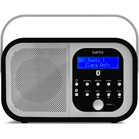 Smith-Style Retro H1 DAB+ FM DAB Digital Radio Bluetooth Portable Radio with Dual Alarm Clock & LCD Display – DAB Radio/FM Radio/Battery & Mains Powered with 20 Presets – Black