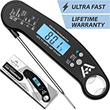Arima Homeware Instant Read Thermometer – Digital Meat Thermometer for Grilling, Cooking, BBQ, Candy, Baking & Breads. Ultra Fast Cooking Thermometer, Waterproof, Calibrated & Bottle Opener. (Black)