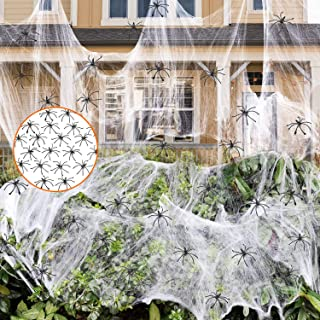 GABOSS Halloween Stretch Spider Web with 25 Fake Spiders for Indoor & Outdoor Halloween Decorations