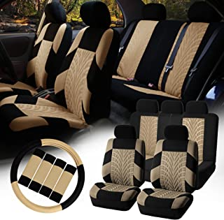 FH Group FB071115 Complete Set Travel Master Seat Covers Airbag Ready & Rear Split, Beige/Black - Fit Most Car, Truck, SUV, or Van
