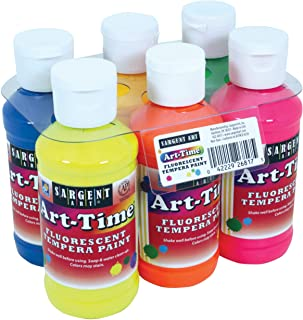 Sargent Art 22-6817 6 Pack 4oz Art-Time Fluorescent Tempera Paint Set, 4 Fl Oz (Pack of 6), 24 Ounce