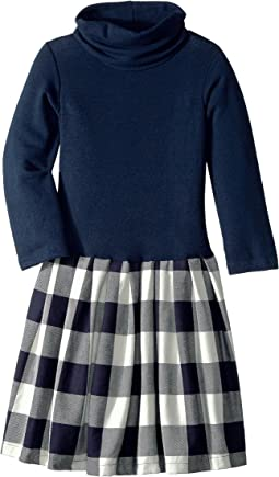 Little Knit Flannel Dress Buffalo Check (Big Kids)