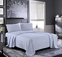 Fresh Linen Queen Sheets [4-Piece, Ice Blue] Hotel Luxury Bed Sheets - Extra Soft 1800 Microfiber Sheet Set, Wrinkle, Fade, Stain Resistant - Deep Pocket Fitted Sheet, Flat Sheet, Pillow Cases