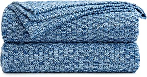 Longhui bedding Blue Knitted Throw Blanket for Couch, Soft, Cozy Machine Washable 100% Cotton Sofa Knit Blankets, Heavy 2.8lb Weight, 50 x 63 Inches, Blue and White Color, Laundry Bag Included