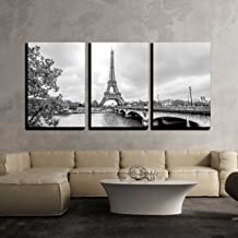 wall26 - 3 Piece Canvas Wall Art - Paris Eiffel Tower from Seine. Cityscape in Black and White - Modern Home Decor Stretched and Framed Ready to Hang - 16