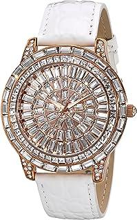 ساعة سهرة انيقة للنساء كريستال كوتور بسوار جلدي من بيجو