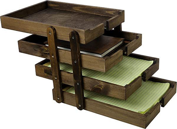 4 Tier Collapsible Vintage Wood Document Tray Organizer Expandable Office File Holder Brown