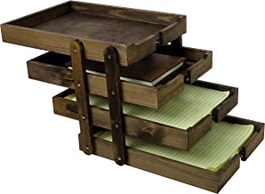 4 Tier Collapsible Vintage Wood Document Tray Organizer, Expandable Office File Holder, Brown