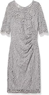 Xscape Women's Short Side Ruch Short Sleeve Glitter Lace Dress