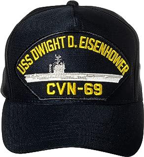 United States Navy USS Dwight D. Eisenhower CVN-69 Aircraft Carrier Ship Emblem Patch Hat Navy Blue Baseball Cap