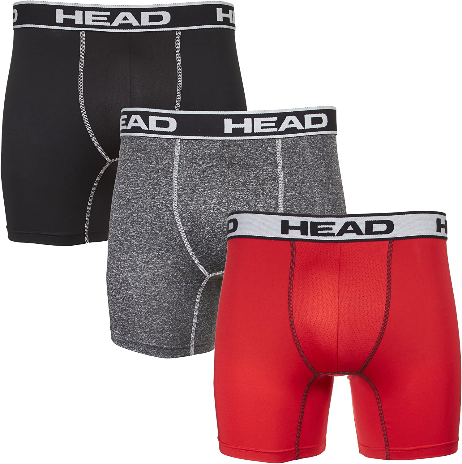 HEAD Mens Performance Underwear - 3-Pack Stretch Performance Boxer Briefs Breathable No Fly Up to Size 5X