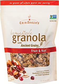 Erin Baker's Homestyle Granola, Fruit & Nut, Gluten-Free, Ancient Grains, Vegan, Non-GMO, Cereal, 12-ounce bags (Pack of 6)