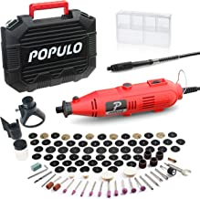 Populo High Performance Rotary Tool Kit with 107 Accessories, 3 Attachments, Variable Speed, Flex Shaft and Universal Coll...