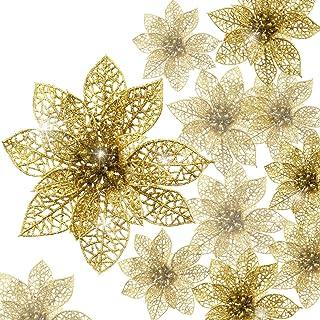 Boao 24 Piezas de Poinsettia Brillante Adorno de Árbol de Navidad Flores Navideñas (Dorado)
