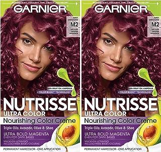 Garnier Hair Color Nutrisse ultra color nourishing hair color creme, Sweet Grenadine M2, Pack of 2